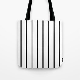 Vertical Lines (Black & White Pattern) Tote Bag