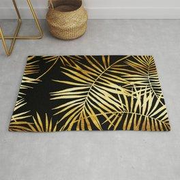 Tropical Palm Fronds Noir Rug
