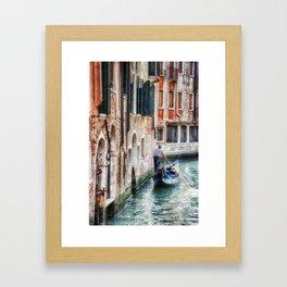 Gondolier, Venice, Italy Framed Art Print