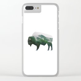 Bison double exposure Clear iPhone Case