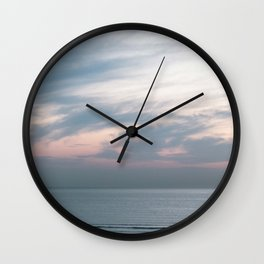 Pastel sky above the sea | Soft clouds at sunset | Fine art travel photography Wall Clock