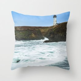 Receding waves at Yaquina Head Lighthouse in Newport, Oregon Throw Pillow