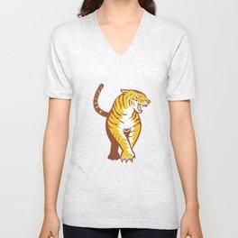 Tiger Prowling Retro Unisex V-Neck