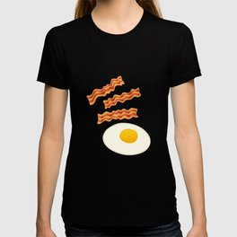 Breakfast With Bacon and Eggs Seamless Vector Pattern Dark T-shirt