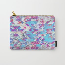 Blue magenta marble grungy triangles Carry-All Pouch
