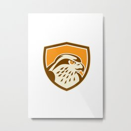 Peregrine Falcon Head Shield Retro Metal Print