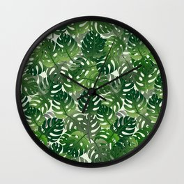 Exotic Palm Leaf Pattern Wall Clock