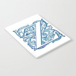 Letter Z Elegant Vintage Floral Letterpress Monogram Notebook