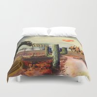 boxing Duvet Covers featuring Boxing Horse in texas  by HURLUdesign