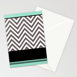 Chevron Striped Seafoam Aqua, Grey, Black Stationery Cards