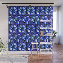 Cryptocurrency blue pattern Wall Mural