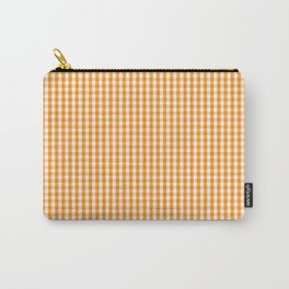 Pumpkin Orange and White Gingham Check Plaid Carry-All Pouch