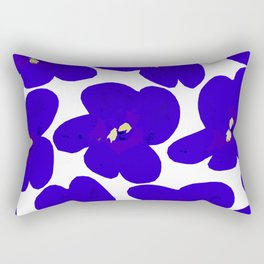 Blue Retro Flowers Rectangular Pillow