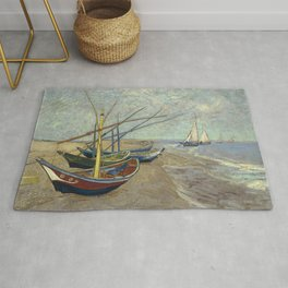Fishing boats on the beach by Vincent Van Gogh Rug