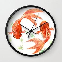 Koi Fish, Feng Shui, Goldfish art, Two fish, Wall Clock
