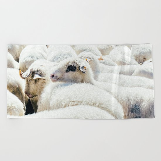 Sheep Flock Beach Towel