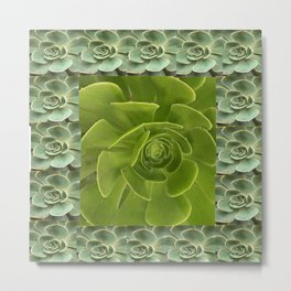 COLLAGE GRAY-GREEN  SUCCULENTS  MODERN DESIGN Metal Print