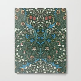 William Morris Blackthorn Wallpaper Block Print Pattern, 1892 Metal Print