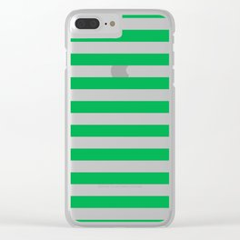 Horizontal Green Stripes Clear iPhone Case