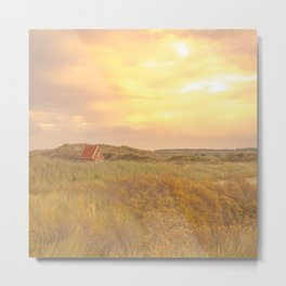 Cottage on Green Dune Grass and Yellow Sky | Landscape Travel Photography wall art | Tiny house Metal Print