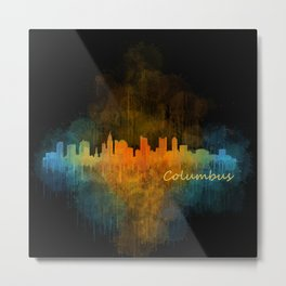 Columbus Ohio, City Skyline, watercolor  Cityscape Hq v4 Metal Print