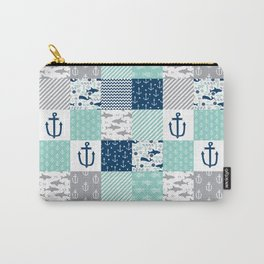 Nautical anchors sharks whales quilt cheater quilt nursery pattern art Carry-All Pouch