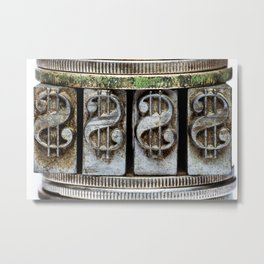 $ coins and movable print type dollar sign Cash US stack of coins Metal Print