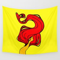 redhead Wall Tapestries featuring Redhead by Moonworkshop
