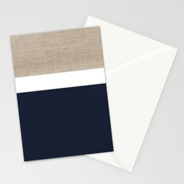 Faux Burlap, White, and Navy Minimalist Color Block 2  Stationery Cards