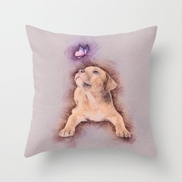Staffordshire terrier Puppy with Butterfly Throw Pillow