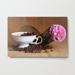 Flower Coffee Metal Print