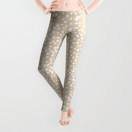 Little wild cheetah spots animal print neutral home trend warm honey yellow beige Leggings