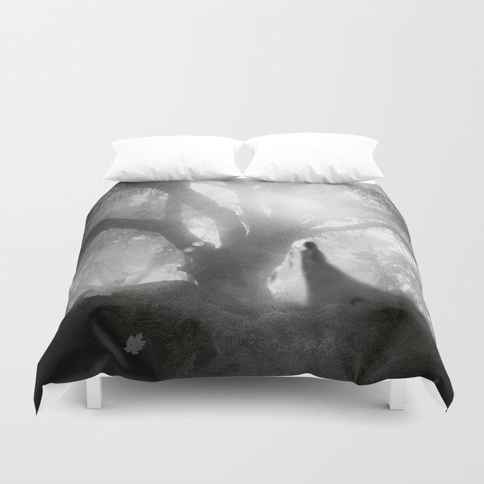 Black and White - Autumn Song Duvet Cover