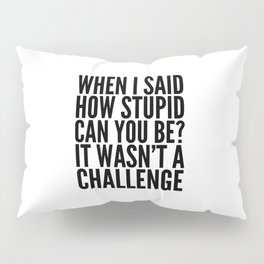 When I Said How Stupid Can You Be? It Wasn't a Challenge Pillow Sham