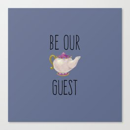 Hand painted Be our Guest Teapot on Periwinkle Purple Voilet Canvas Print