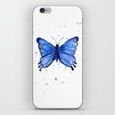 Butterfly Blue Watercolor Animal Painting iPhone & iPod Skin