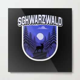 Schwarzwald Illustration Wald Bäume Hirsch Metal Print