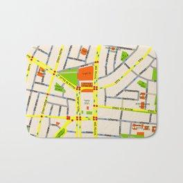 Tel Aviv map design - written in Hebrew Bath Mat