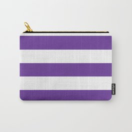 Rebecca Purple - solid color - white stripes pattern Carry-All Pouch