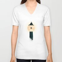 marianna V-neck T-shirts featuring The Moon Tower by Paula Belle Flores