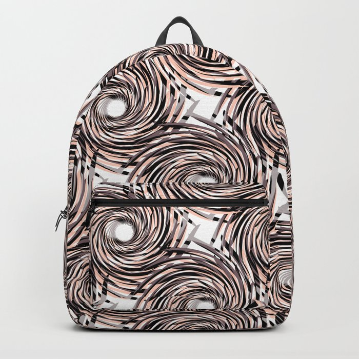 Abstract pattern. black,gray , beige pinstripes on a white background. Backpack