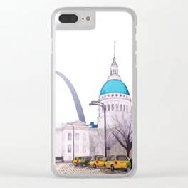 St. Louis Arch with cabs Clear iPhone Case