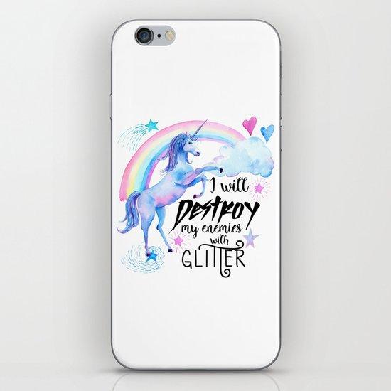 Destroy With Unicorn Glitter iPhone & iPod Skin