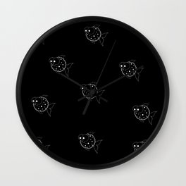 Black Balloon Fish Wall Clock