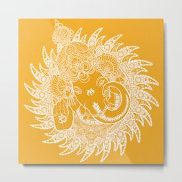 Ganesha Lineart Yellow White Metal Print