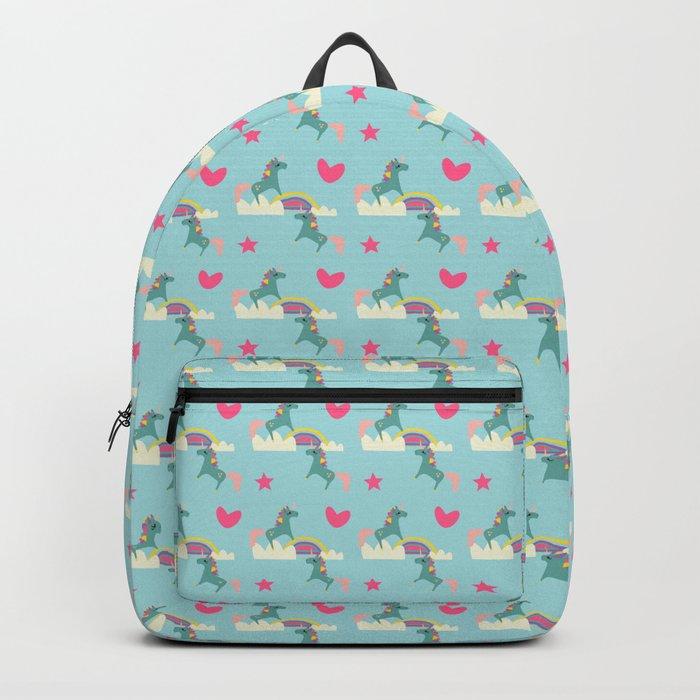 unicorn and rainbow blue Backpack