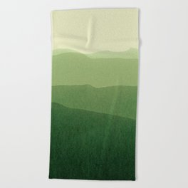 gradient landscape green Beach Towel