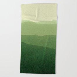 gradient landscape green Beach Towel