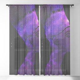 Queen Nefertiti Nebula Dark Stardust Sheer Curtain