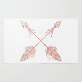 Tribal Arrows Rose Gold on White Rug